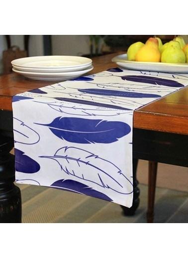 Artikel Mavi Çizgisel Yaprak Desen Runner Masa Örtüsü 43,5x141,5cm Renkli